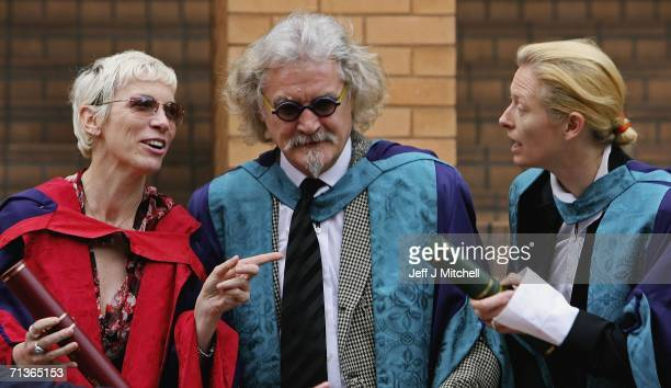 Billy Connolly Annie Lennox and Tilda Swinton talk after receiving honorary degrees from the Royal Scottish Academy of Music and Drama on July 4 2006...