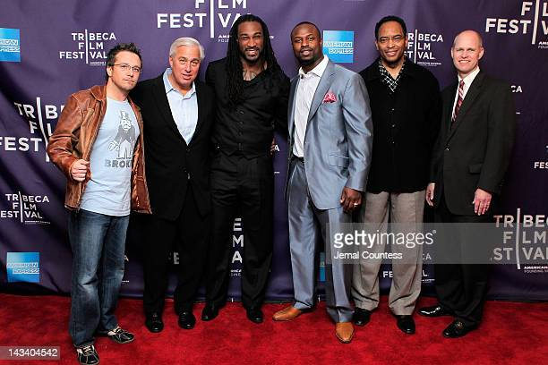 Billy Corben Ed Butowsky Isaiah Stanback Bart Scott Reggie Wilkes and John Dahl attend the Broke Premiere during the 2012 Tribeca Film Festival at...