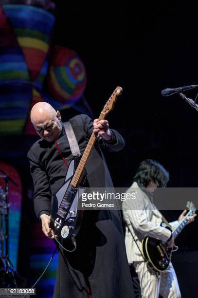 Billy Corgan and James Iha from The Smashing Pumpkins perform on the NOS stage on day 3 of NOS Alive festival on July 13 2019 in Lisbon Portugal