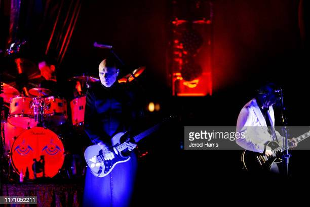 Billy Corgan and James Iha of the Smashing Pumpkins perform at FivePoint Amphitheatre on August 29 2019 in Irvine California