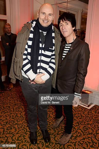 Billy Corgan and Johnny Marr arrive at the Xperia Access Q Awards at The Grosvenor House Hotel on October 22 2014 in London England