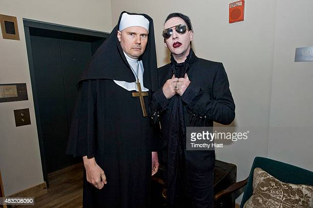 Billy Corgan and Marilyn Manson attend SiriusXM's Town Hall With Marilyn Manson And Billy Corgan on August 6 2015 in Chicago Illinois