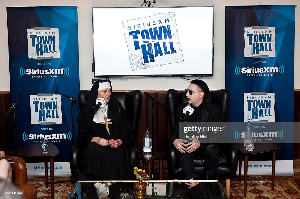 Billy Corgan and Marilyn Manson attend SiriusXM's Town Hall With Marilyn Manson And Billy Corgan on August 6, 2015 in Chicago, Illinois.