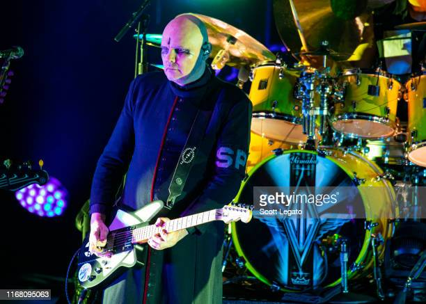 Billy Corgan of Smashing Pumpkins performs at DTE Energy Music Theater on August 14 2019 in Clarkston Michigan