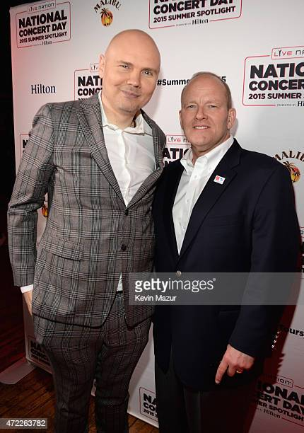 Billy Corgan of The Smashing Pumpkins and Colonel David W Sutherland arrive as Live Nation Celebrates National Concert Day At Their 2015 Summer...