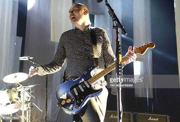 """Billy Corgan of The Smashing Pumpkins performs during the band's """"The End Times Tour"""" at Concord Pavilion on July 7, 2015 in Concord, California."""