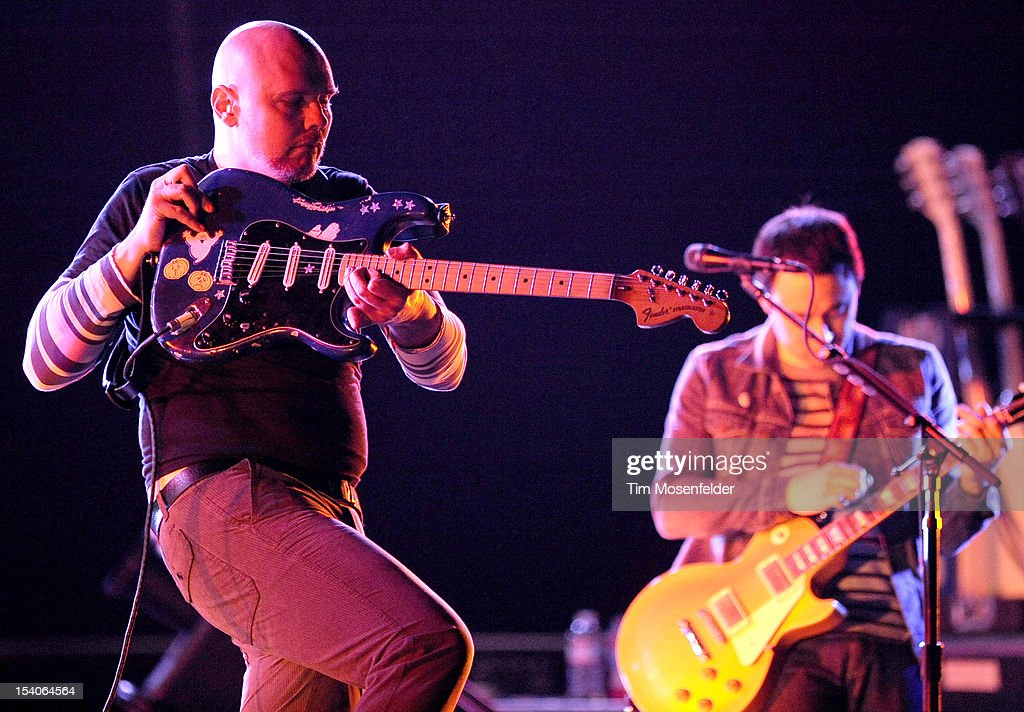 Billy Corgan (L) of The Smashing Pumpkins performs in support of the bands' Oceana release at the Bill Graham Civic Auditorium on October 12, 2012 in San Francisco, California.