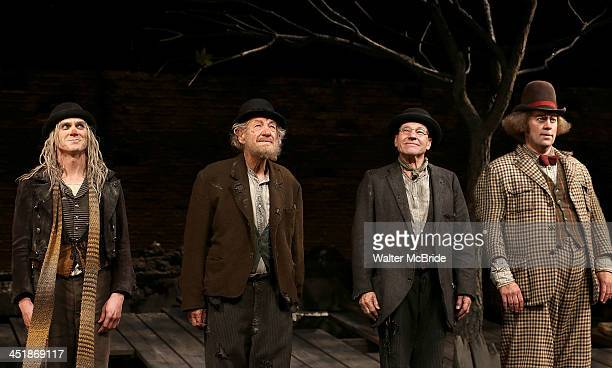 """Billy Cruduo, Ian McKellen, Patrick Stewart and Shuler Hensley during the Opening Night Curtain Call for """"Waiting For Godot"""" at the Cort Theatre on..."""