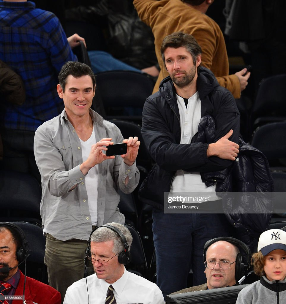 Billy Crudup and Bart Freundlich attend the Phoenix Suns vs New York Knicks game at Madison Square Garden on December 2, 2012 in New York City.