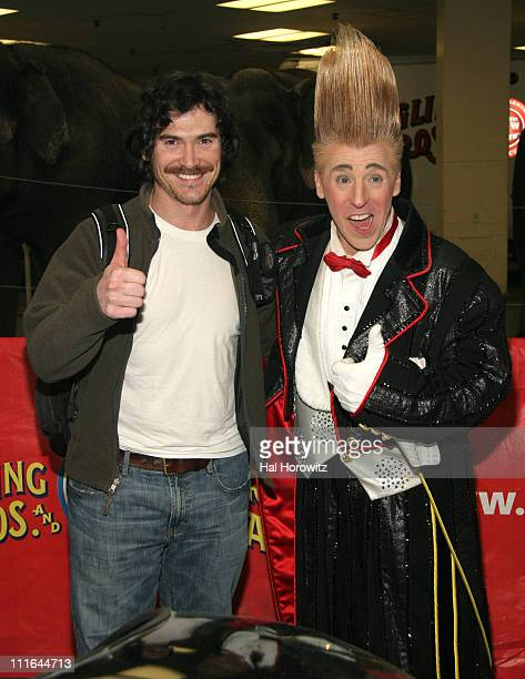 Billy Crudup and Bello the clown during Billy Crudup and Ethan Hawke Attend a Ringling Bros Show April 2 2007 at MSG in New York City New York United...