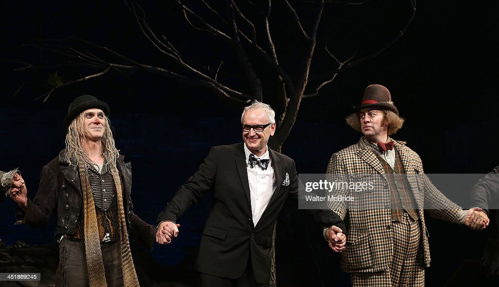 Billy Crudup, Director Sean Mathais and Shuler Hensley during the Opening Night Curtain Call for 'Waiting For Godot' at the Cort Theatre on November 24, 2013 in New York City.