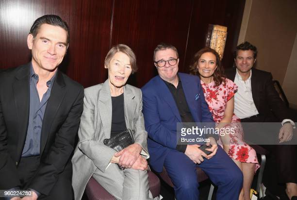 Billy Crudup Glenda Jackson Nathan Lane Laura Benanti and Joshua Jackson pose at The 2018 Drama League Awards at The Marriott Marquis Times Square on...