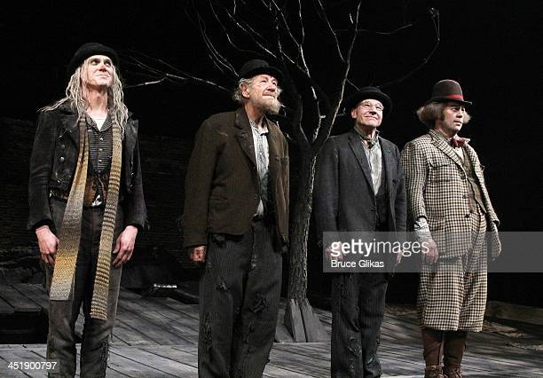 Billy Crudup, Ian McKellen, Patrick Stewart and Shuler Hensley take their Opening Night Curtain Call for 'Waiting For Godot' at the Cort Theatre on...