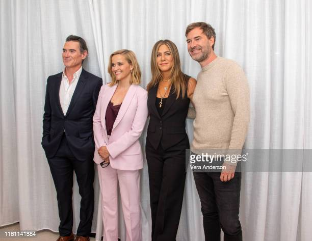 """Billy Crudup, Reese Witherspoon, Jennifer Aniston and Mark Duplass at """"The Morning Show"""" Press Conference at The West Hollywood Edition on October..."""