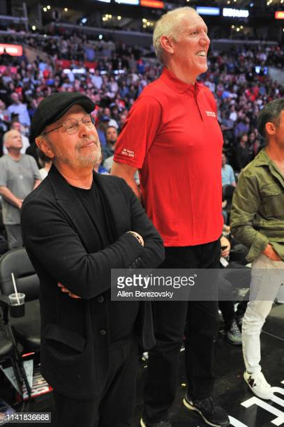 Billy Crystal and Bill Walton attend a basketball game between the Los Angeles Clippers and the Utah Jazz at Staples Center on April 10 2019 in Los...