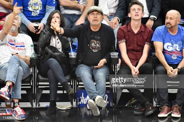 Billy Crystal and Janice Crystal attend an NBA playoffs basketball game between the Los Angeles Clippers and the Golden State Warriors at Staples...