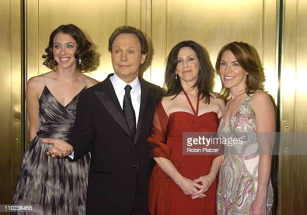 """Billy Crystal and Janice Crystal, nominees Best Special Theatrical Event for """"700 Sundays"""" with daughters Lindsay and Jennifer"""