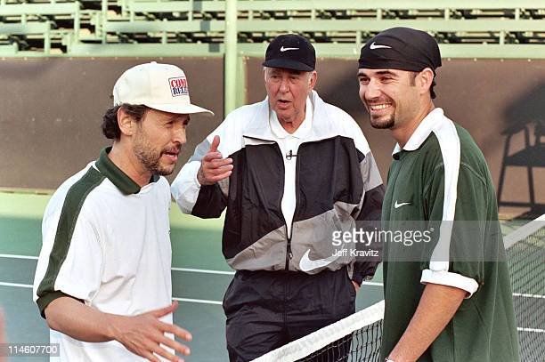 Billy Crystal Carl Reiner and Andre Agassi during HBO's Comic Relief Tennis Tournament with Andre Agassi at UCLA in Los Angeles CA United States