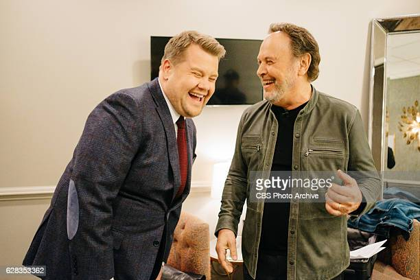 Billy Crystal chats in the green room with James Corden during 'The Late Late Show with James Corden' Tuesday December 6 2016 On The CBS Television...