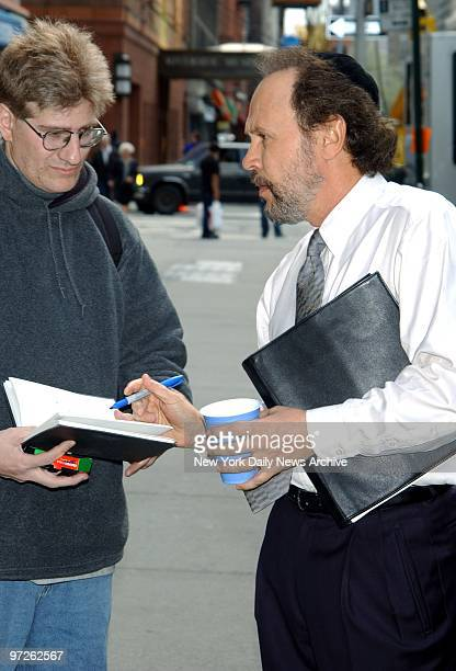 Billy Crystal has a sidewalk conference outside Riverside Memorial Chapel on Amsterdam Ave where he was filming the movie Analyze That
