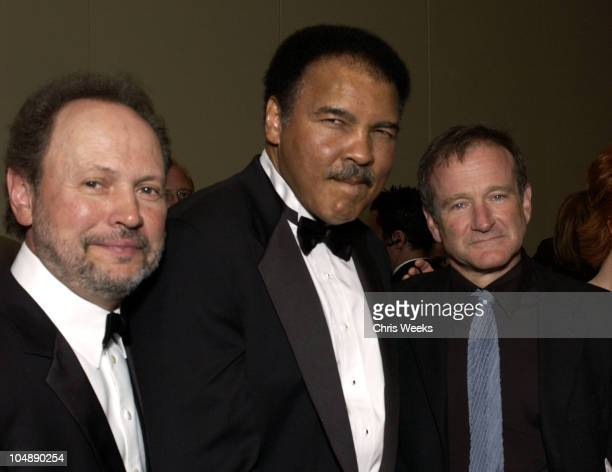 Billy Crystal Muhammad Ali Robin Williams during Celebrity Fight Night IX VIP Reception at Arizona Biltmore Resort Spa in Phoenix Arizona United...