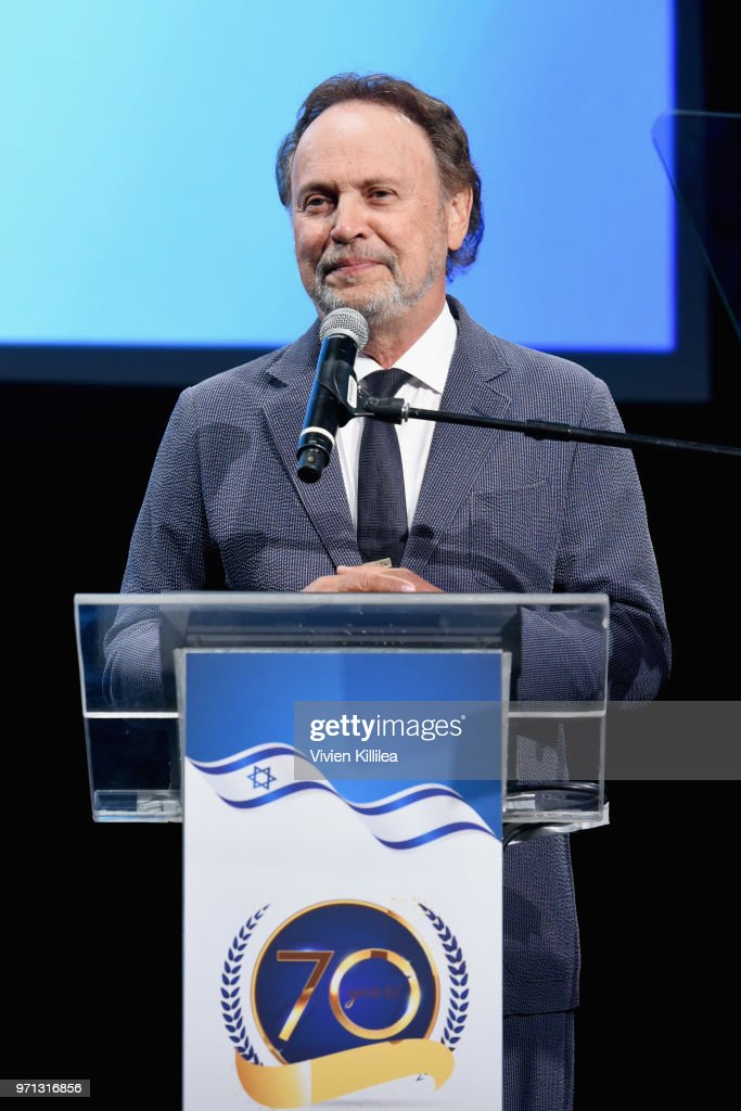 Billy Crystal speaks onstage during the 70th Anniversary of Israel celebration in Los Angeles on Sunday, June 10, 2018.