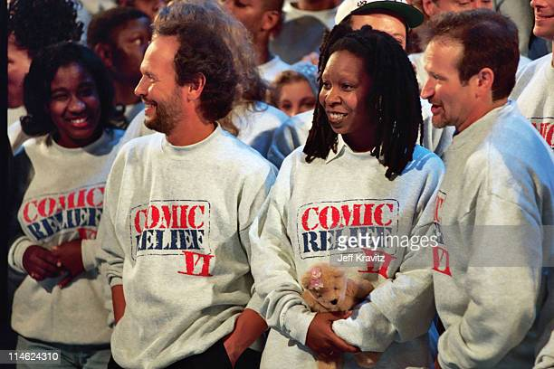 Billy Crystal Whoopi Goldberg and Robin Williams during 6th Comic Relief To Benefit The Homeless at Shrine Auditorium in Los Angeles CA United States