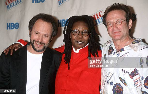 Billy Crystal Whoopi Goldberg and Robin Williams during Comic Relief VIII at Radio City Music Hall in New York City New York United States
