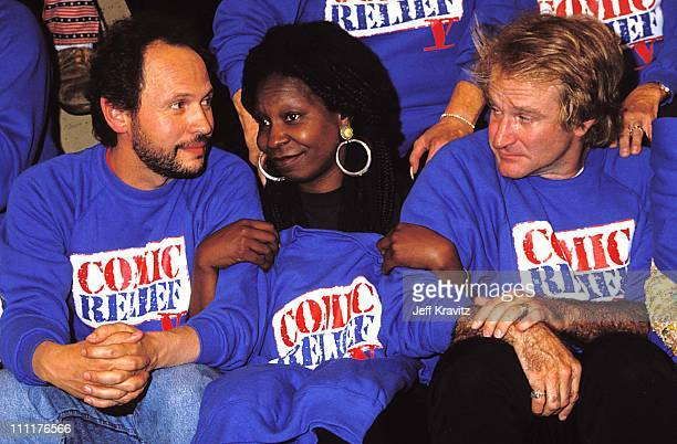 Billy Crystal Whoopi Goldberg Robin Williams during 1992 HBO's Comic Relief in Los Angeles California United States