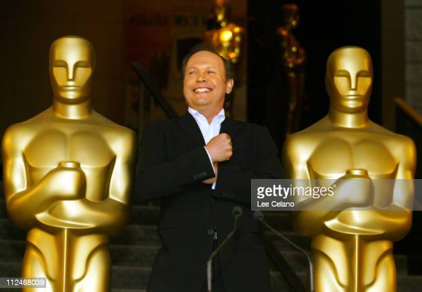 Billy Crystal with Oscar statues during Billy Crystal Announced as Host of the 76th Academy Awards Show at Academy of Motion Picture Arts and...