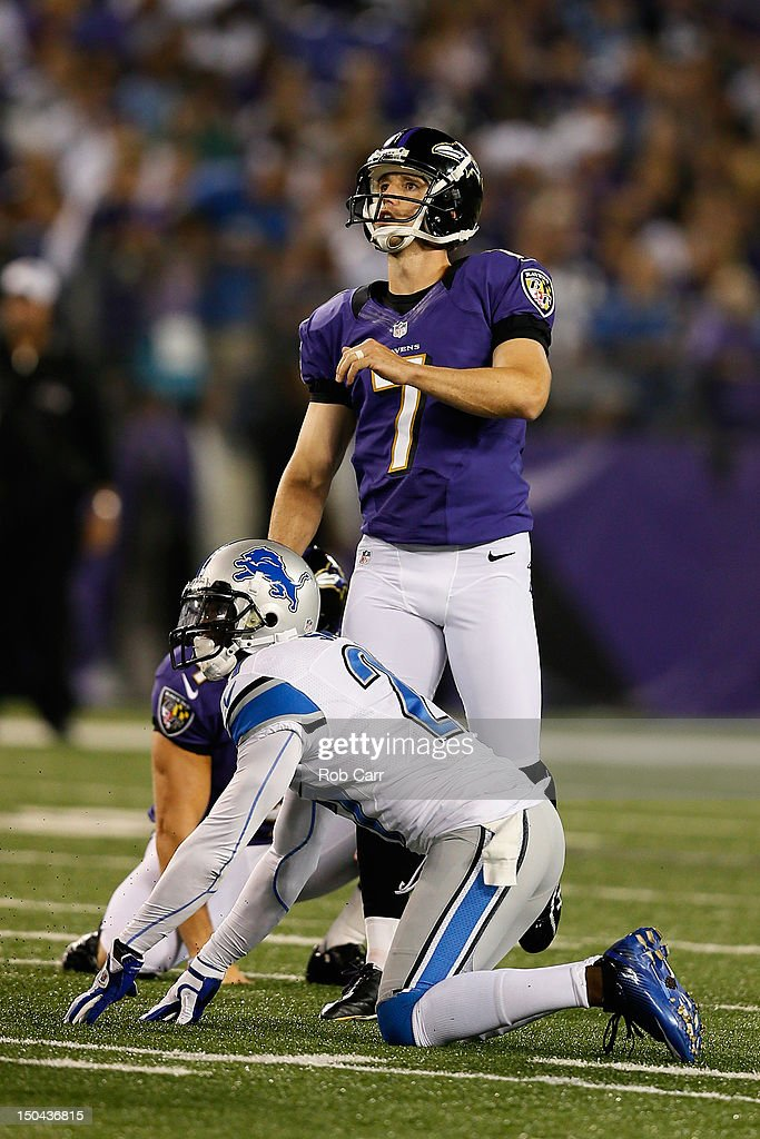 Billy Cundiff #7 of the Baltimore Ravens kicks a field goal against the Detroit Lions at M&T Bank Stadium on August 17, 2012 in Baltimore, Maryland.