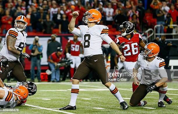 Billy Cundiff of the Cleveland Browns kicks the game winning field goal as time expired in the second half against the Atlanta Falcons at Georgia...