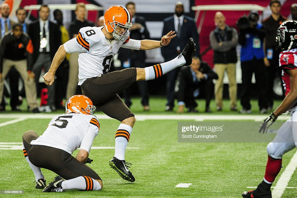 Billy Cundiff #8 of the Cleveland Browns kicks the game winning field goal as time expired in the second half against the Atlanta Falcons at Georgia Dome on November 23, 2014 in Atlanta, Georgia. The Browns won 26-24.