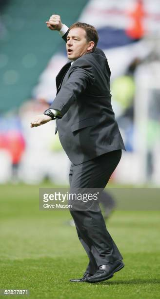 Billy Davies manager of Preston celebrates victory during the Coca Cola Championship semifinal first leg play off match between Preston North End and...