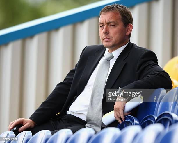 Billy Davies the Derby County Manager pictured during the pre season friendly match between Mansfield Town and Derby County at Field Mill on July 28...
