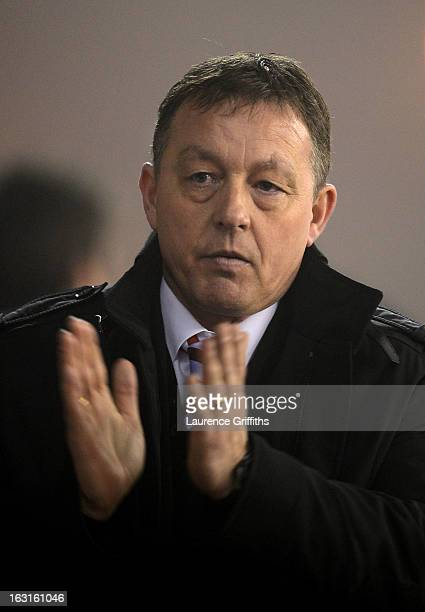 Billy Davies the Nottingham Forest manager applauds his team's victory following the final whistle during the npower Championship match between...