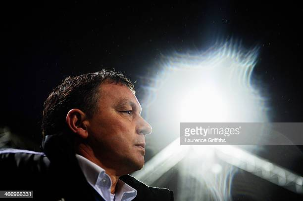 Billy Davies the Nottingham Forest manager looks on during the FA Cup Fourth Round Replay match between Preston North End and Nottingham Forest at...