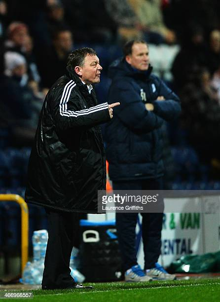 Billy Davies the Nottingham Forest manager shouts instructions from the touchline during the FA Cup Fourth Round Replay match between Preston North...