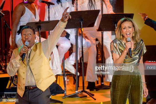 """Billy Davis and Marlyn McCoo perform during Questlove's """"Summer Of Soul"""" screening & live concert at Marcus Garvey Park in Harlem on June 19, 2021 in..."""