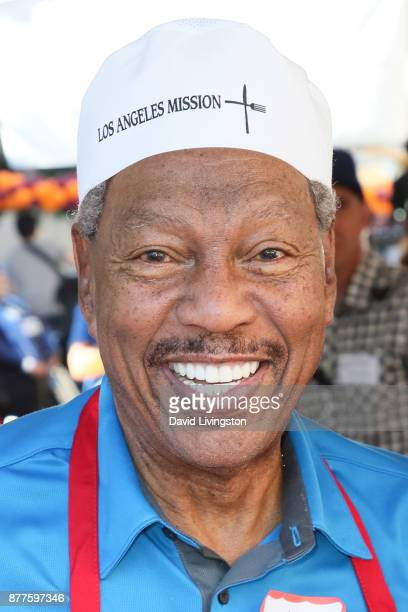 Billy Davis Jr is seen at the Los Angeles Mission Thanksgiving Meal for the homeless at the Los Angeles Mission on November 22 2017 in Los Angeles...