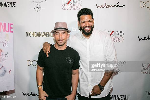 Billy Dec and Hebru Brantley attend Michigan Avenue Magazine's Art Of The City Issue Release Celebration With Cover Artist Hebru Brantley At Dolce...