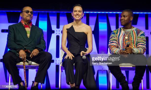 Billy Dee Williams, Daisy Ridley and John Boyega during the Star Wars Celebration at the Wintrust Arena on April 12, 2019 in Chicago, Illinois.