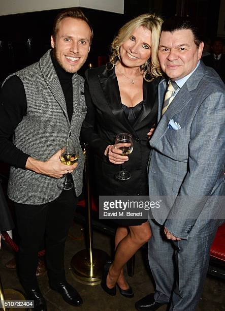Billy Dennis Julie Dennis and Jamie Foreman attend the press night after party for Mrs Henderson Presents at The National Cafe on February 16 2016 in...