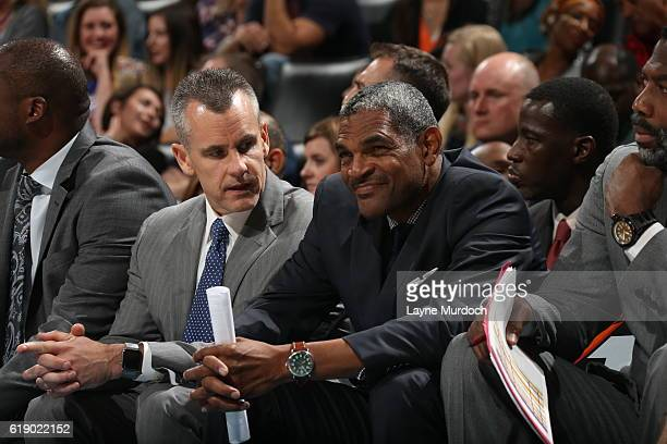 Billy Donovan and Maurice Cheeks of the Oklahoma City Thunder coach during an NBA preseason game against the Denver Nuggets on October 18 2016 at...