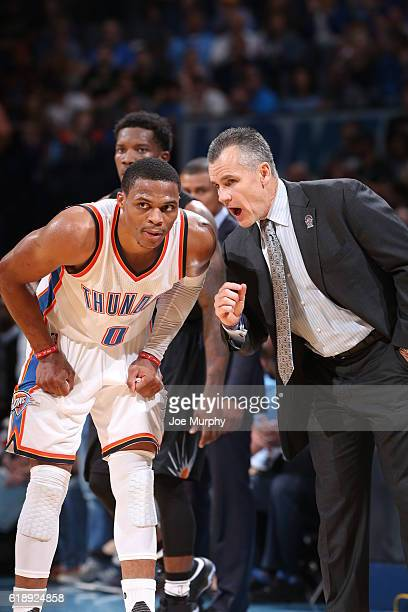 Billy Donovan and Russell Westbrook of the Oklahoma City Thunder are seen against the Phoenix Suns on October 28 2016 at the Chesapeake Energy Arena...