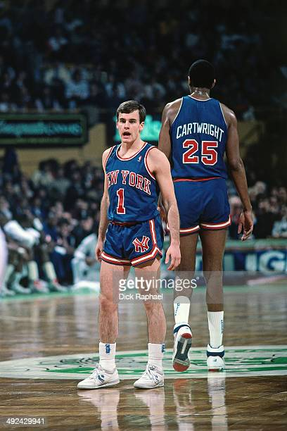 Billy Donovan of the New York Knicks stands on the court during a game against against the Boston Celtics in 1988 at the Boston Garden in Boston...