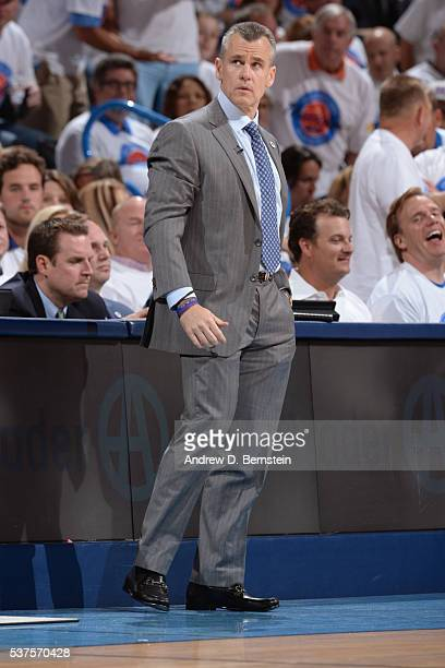 Billy Donovan of the Oklahoma City Thunder coaches against the Golden State Warriors in Game Four of the Western Conference Finals during the 2016...