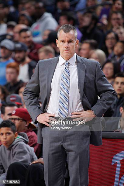 Billy Donovan of the Oklahoma City Thunder coaches during the game against the Sacramento Kings on November 23 2016 at Golden 1 Center in Sacramento...