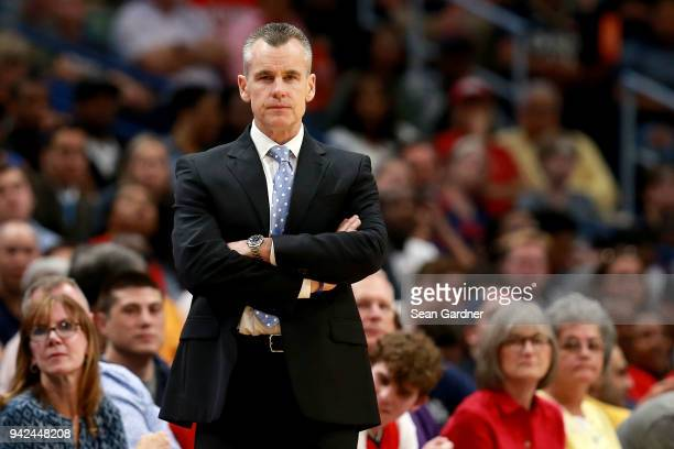 Billy Donovan of the Oklahoma City Thunder reacts to a call during the second half of a NBA game against the New Orleans Pelicans at the Smoothie...