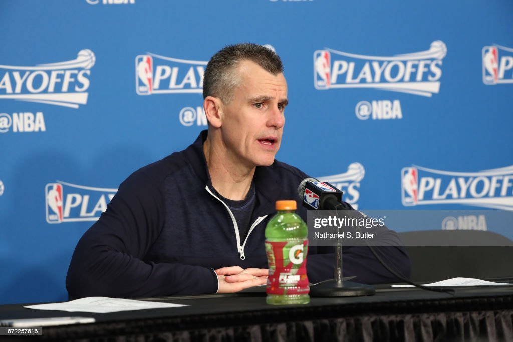Billy Donovan of the Oklahoma City Thunder talks to the media during a press conference after Game Three of the Western Conference Quarterfinals against the Houston Rockets during the 2017 NBA Playoffs on April 21, 2017 at Chesapeake Energy Arena in Oklahoma City, Oklahoma.